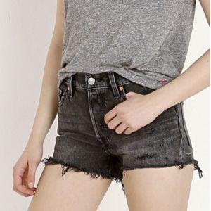 {Levi's} Brand New 501 Cutoff Shorts Trashed Black